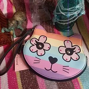 NWT Betsey Johnson Rainbow Cat Wristlet